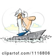 Cartoon Of A Sailor Man Cruising On A Ship Royalty Free Vector Clipart
