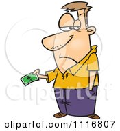 Cartoon Of A Man Grudgingly Making A Payment Royalty Free Vector Clipart by Ron Leishman
