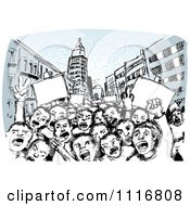 Vector Clipart Of Children Of The Revolution Shouting In A Street Royalty Free Graphic Illustration