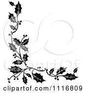 Vintage Black And White Corner Border Of Christmas Holly Sprigs