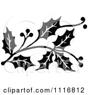 Clipart Retro Vintage Black And White Christmas Holly Sprig Design Element 2 Royalty Free Vector Illustration by Prawny Vintage #COLLC1116812-0178