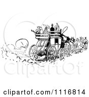 Clipart Of Retro Vintage Black And White People On A Horse Drawn Carriage Royalty Free Vector Illustration