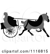 Clipart Of Silhouetted Black And White Single Horse Drawn Cart 1 Royalty Free Vector Illustration