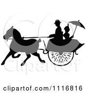 Clipart Of Silhouetted Black And White Single Horse Drawn Cart With A Passenger 1 Royalty Free Vector Illustration