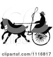 Clipart Of Silhouetted Black And White Single Horse Drawn Cart 4 Royalty Free Vector Illustration
