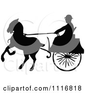Clipart Of Silhouetted Black And White Single Horse Drawn Cart 2 Royalty Free Vector Illustration