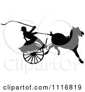 Clipart Of Silhouetted Black And White Single Horse Drawn Cart 3 Royalty Free Vector Illustration