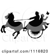 Clipart Of Silhouetted Black And White Single Horse Drawn Cart With A Passenger 2 Royalty Free Vector Illustration by Prawny Vintage
