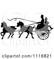 Clipart Of Silhouetted Black And White Single Horse Drawn Cart With A Passenger 2 Royalty Free Vector Illustration