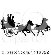 Clipart Of Silhouetted Black And White Single Horse Drawn Cart With Passengers Royalty Free Vector Illustration by Prawny Vintage
