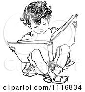 Clipart Of A Retro Vintage Black And White Boy Reading And Sitting Royalty Free Vector Illustration