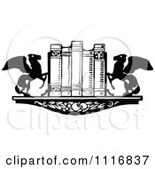 Clipart Of A Retro Vintage Black And White Book Shelf With Winged Horse Ends Royalty Free Vector Illustration