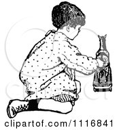 Clipart Of A Retro Vintage Black And White Boy Playing With A Horse Toy Royalty Free Vector Illustration