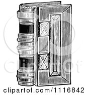 Clipart Of A Retro Vintage Black And White Vintage Book Royalty Free Vector Illustration
