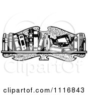 Clipart Of A Retro Vintage Black And White Messy Book Shelf Royalty Free Vector Illustration