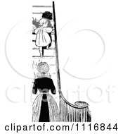Clipart Of A Retro Vintage Black And White Mother Sending Her Daughter Up Stairs At Bed Time Royalty Free Vector Illustration