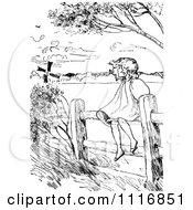Clipart Of A Retro Vintage Black And White Girl Sitting On A Country Fence On A Windy Day Royalty Free Vector Illustration by Prawny Vintage
