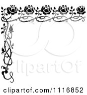 Clipart Of A Retro Vintage Black And White Rose Border Royalty Free Vector Illustration
