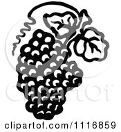 Clipart Of A Retro Vintage Black And White Bunch Of Grapes With Leaves 2 Royalty Free Vector Illustration