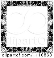 Clipart Of A Retro Vintage Black And White Christmas Border With Copyspace Royalty Free Vector Illustration by Prawny Vintage