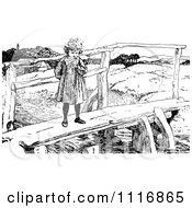 Clipart Of A Retro Vintage Black And White Girl Standing On A Footbridge Royalty Free Vector Illustration
