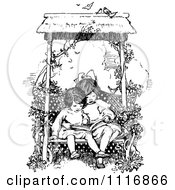 Clipart Of A Retro Vintage Black And White Girls Reading A Book On A Garden Bench Royalty Free Vector Illustration