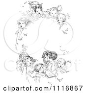 Clipart Of A Retro Vintage Black And White Oval Frame Of Singing Children Royalty Free Vector Illustration by Prawny Vintage