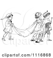 Clipart Of A Retro Vintage Black And White Children Acting Out A Royal Wedding Royalty Free Vector Illustration