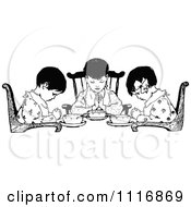 Clipart Of A Retro Vintage Black And White Girls Praying Over Food Royalty Free Vector Illustration