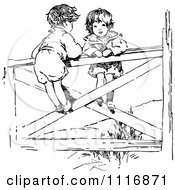 Clipart Of A Retro Vintage Black And White Boy And Girl On A Gate Royalty Free Vector Illustration