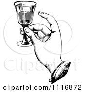 Clipart Of A Retro Vintage Black And White Hand Toasting With Wine Royalty Free Vector Illustration by Prawny Vintage #COLLC1116872-0178