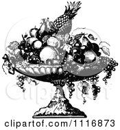 Clipart Of A Retro Vintage Black And White Fruit Bowl Royalty Free Vector Illustration by Prawny Vintage