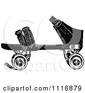 Clipart Of A Retro Vintage Black And White Roller Skate 2 Royalty Free Vector Illustration