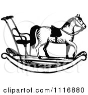 Clipart Of A Retro Vintage Black And White Rocking Horse With Chair Royalty Free Vector Illustration