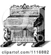 Clipart Of A Retro Vintage Black And White Ornate Piano Royalty Free Vector Illustration