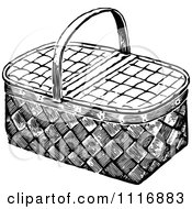 Clipart Of A Retro Vintage Black And White Wicker Picnic Basket Royalty Free Vector Illustration