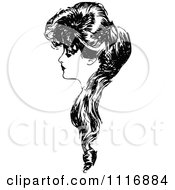 Clipart Of A Retro Vintage Black And White Woman In Profile With Long Hair Royalty Free Vector Illustration