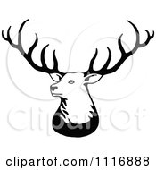 Clipart Of A Retro Vintage Black And White Stag Deer With Big Antlers Royalty Free Vector Illustration by Prawny Vintage