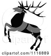 Clipart Of A Retro Vintage Black And White Rearing Stag Deer With Big Antlers Royalty Free Vector Illustration by Prawny Vintage