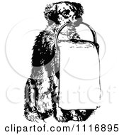 Clipart Of A Retro Vintage Black And White Holding A Sign In A Basket Royalty Free Vector Illustration