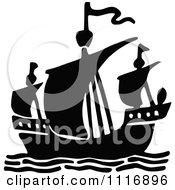 Clipart Of A Vintage Black And White Ship Royalty Free Vector Illustration by Prawny Vintage