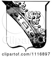 Clipart Of A Retro Vintage Black And White Shield With A Crown Royalty Free Vector Illustration