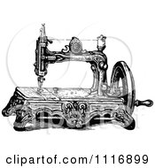 Clipart Of A Retro Vintage Black And White Sewing Machine Royalty Free Vector Illustration by Prawny Vintage