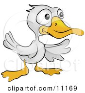 A Cute White Ducky With An Orange Beak And Feet Clipart Illustration