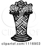 Clipart Of A Retro Vintage Black And White Vase Of Roses Royalty Free Vector Illustration by Prawny Vintage