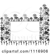 Clipart Of A Retro Vintage Black And White Copyspace Framed With Flower Stalks Royalty Free Vector Illustration