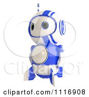 Clipart Of A Cute 3d Blueberry Robot Facing Left Royalty Free CGI Illustration