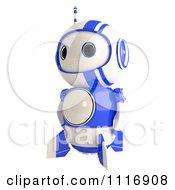 Cute 3d Blueberry Robot Facing Left