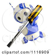 Clipart Of A 3d Blueberry Robot Fixing A Problem With A Screwdriver Royalty Free CGI Illustration