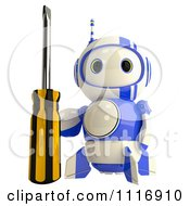 Clipart Of A 3d Repair Blueberry Robot With A Screwdriver Royalty Free CGI Illustration